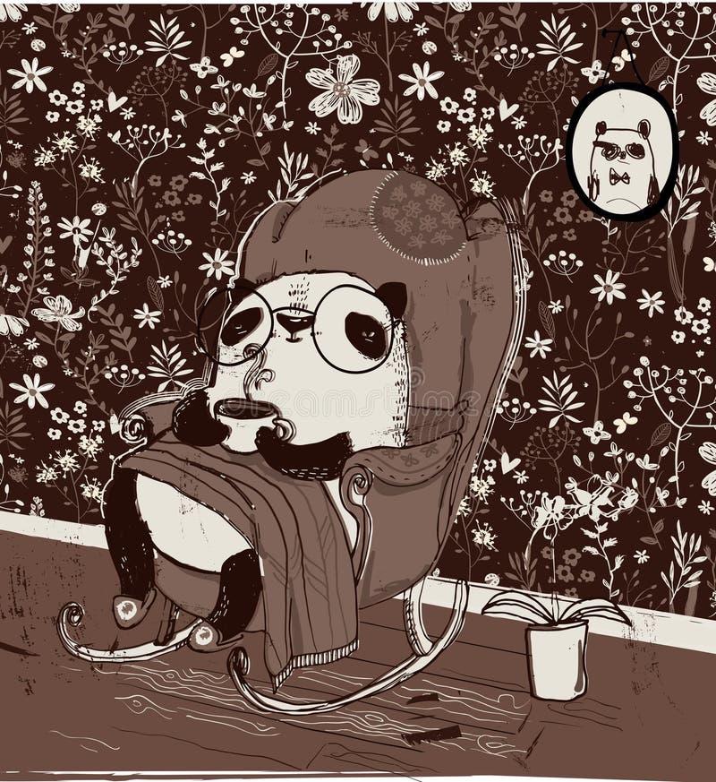 Panda bonito na poltrona ilustração royalty free