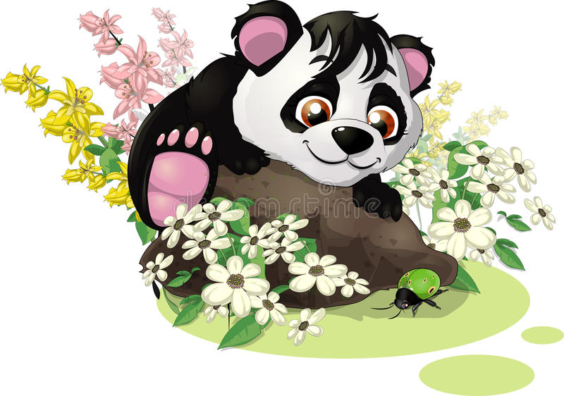 Panda and bug royalty free illustration