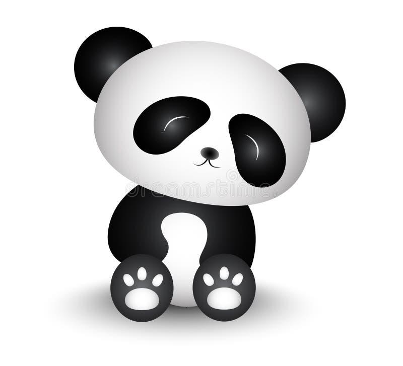 Panda Cartoon Turned His Head bonito ilustração do vetor