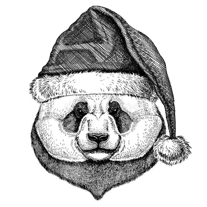 Panda, chapéu vestindo de Santa Claus do Natal do urso de bambu Imagem tirada mão para a tatuagem, emblema, crachá, logotipo, rem ilustração royalty free