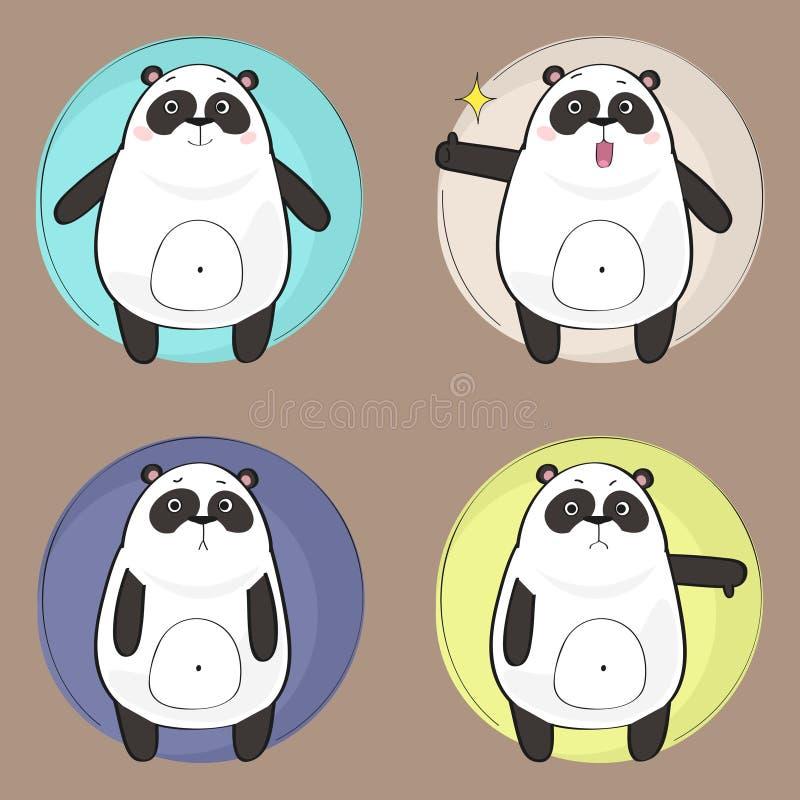 Panda Character mignon illustration de vecteur