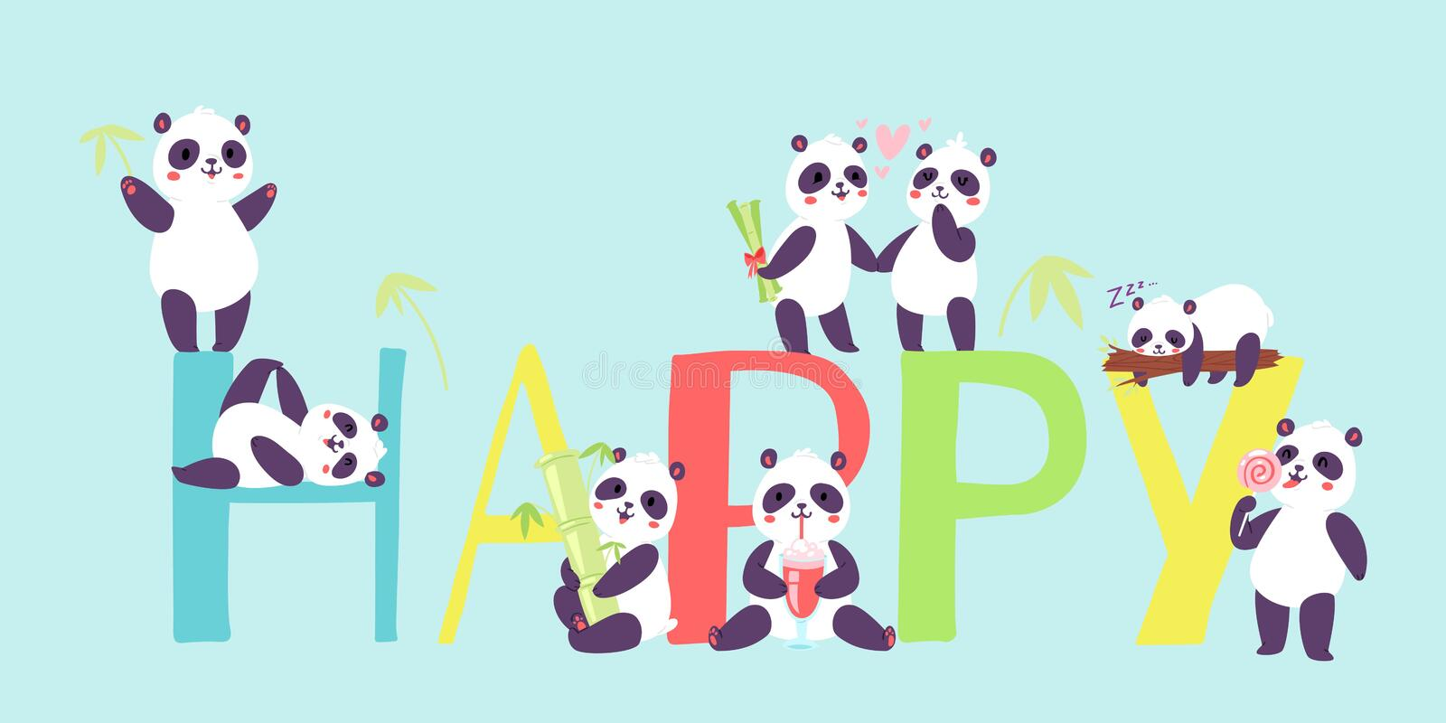 Panda characters in different positions banner vector illustration. Chinese bear newborn happy panda toys. Animal stock illustration