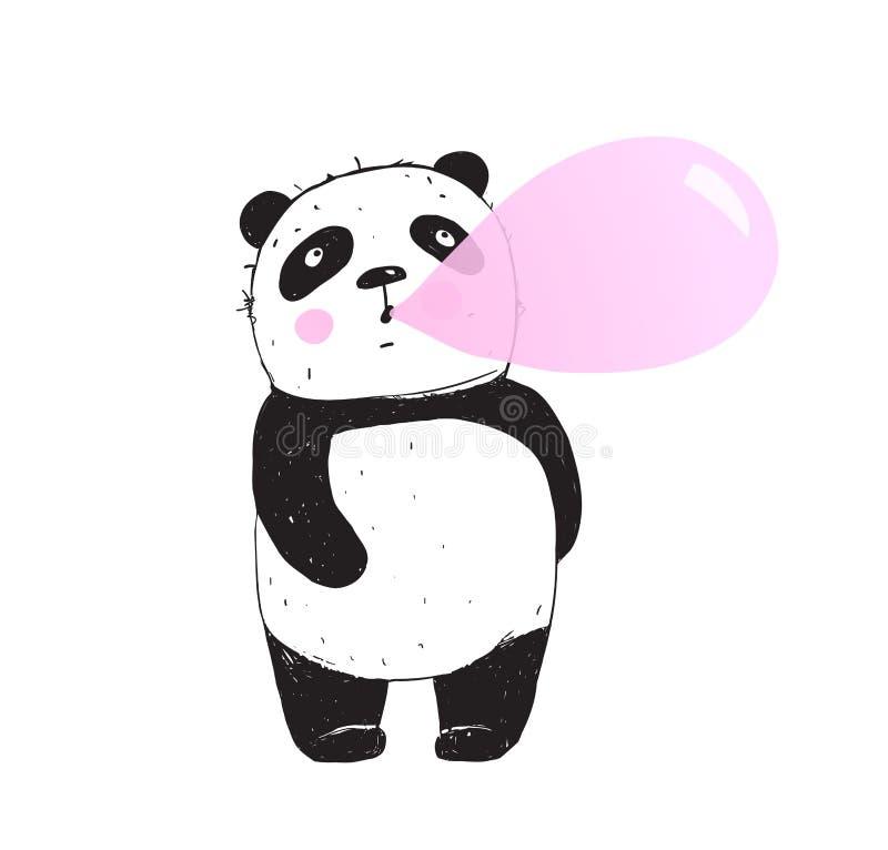 Panda Chewing Gum Bubble engraçado ilustração royalty free