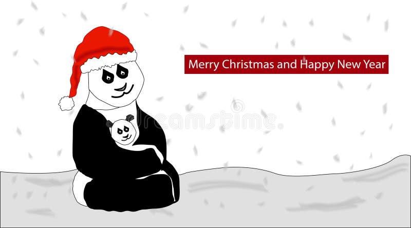 Panda Christmas stock illustrationer
