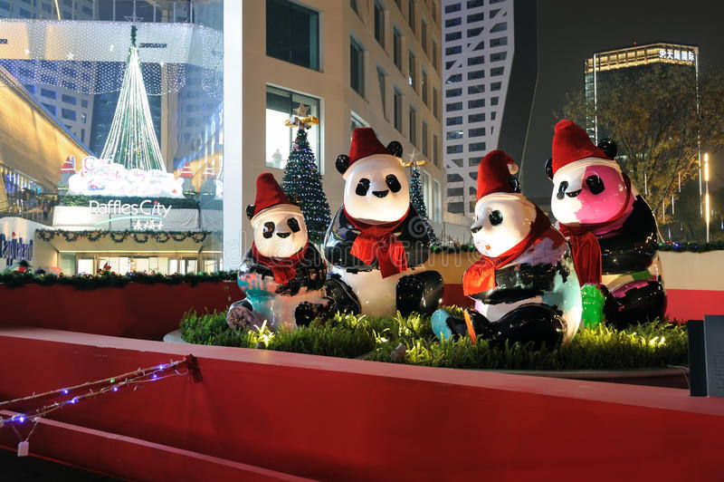 Panda with Christmas hats. In raffles city , Chengdu, Sichuan, China royalty free stock images