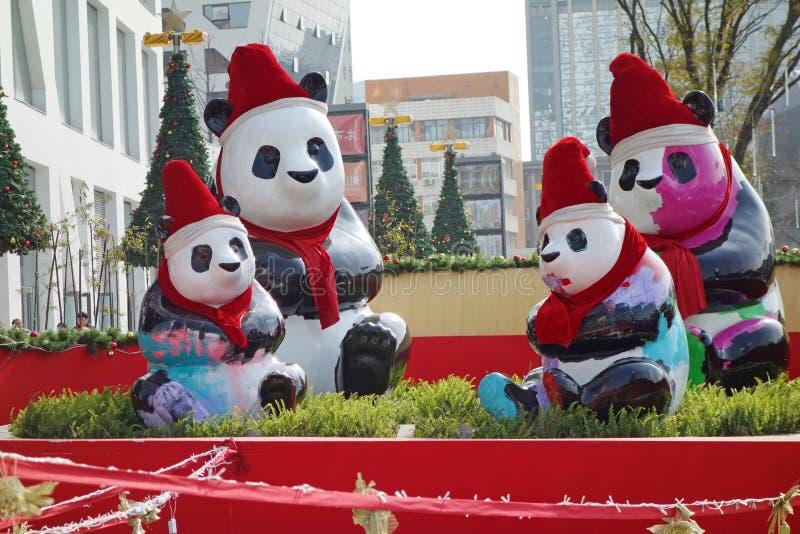 Panda with Christmas hats. In raffles city , Chengdu, Sichuan, China stock photo