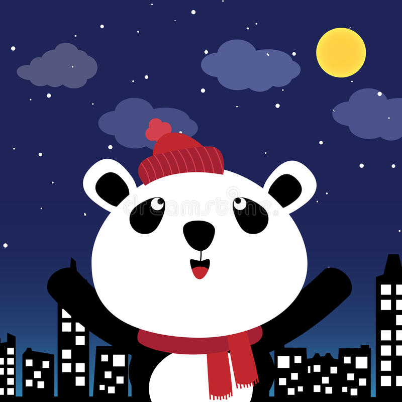 Download Panda in the city at night stock vector. Illustration of modern - 25186162