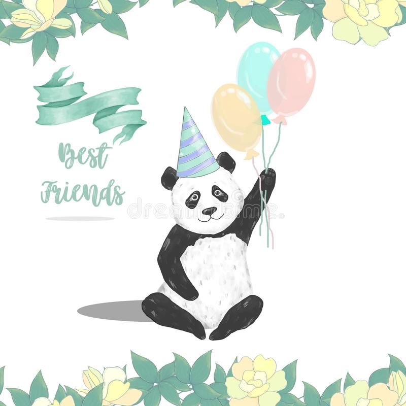Set Cute Baby Panda Bears In Cardboard Hat, With Birthday Cake.. Royalty  Free Cliparts, Vectors, And Stock Illustration. Image 94685266.