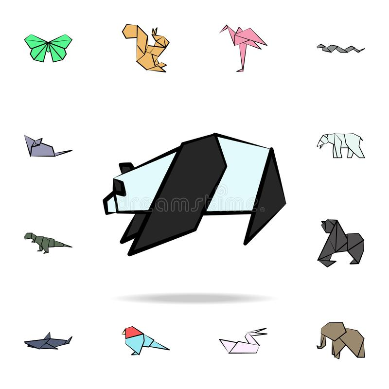 Panda colored origami icon. Detailed set of origami animal in hand drawn style icons. Premium graphic design. One of the. Collection icons for websites, web royalty free illustration