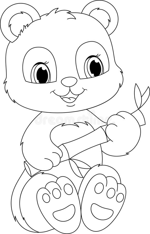 Panda coloring page stock vector. Illustration of food - 42329750