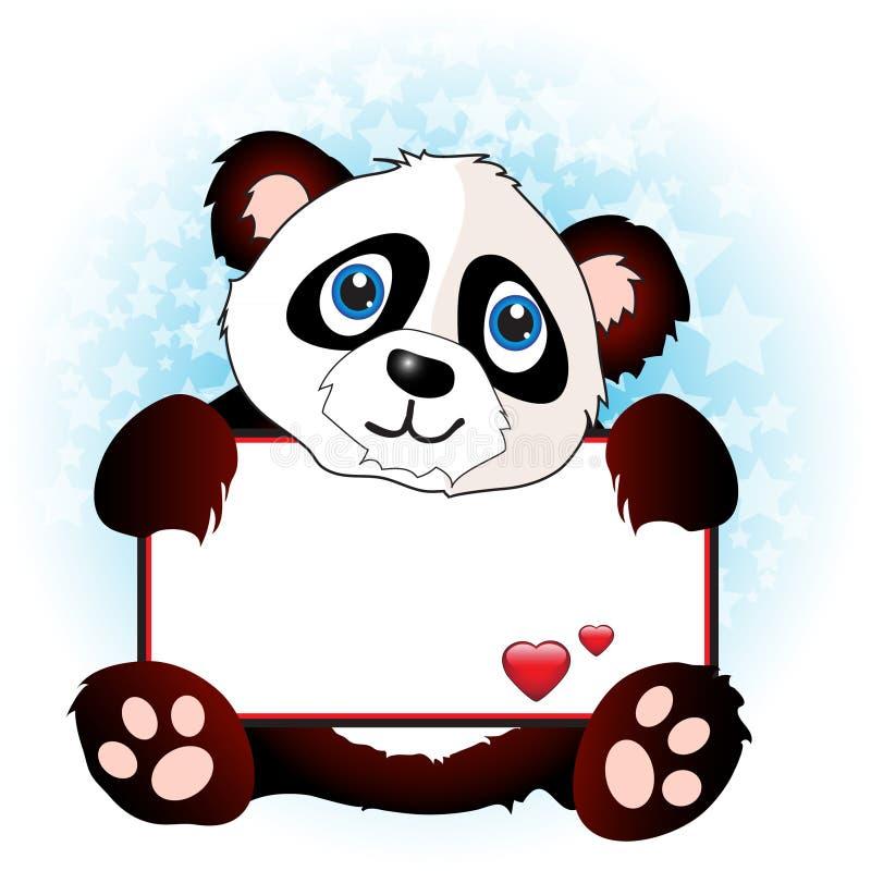 Panda com bandeira do coração ilustração stock