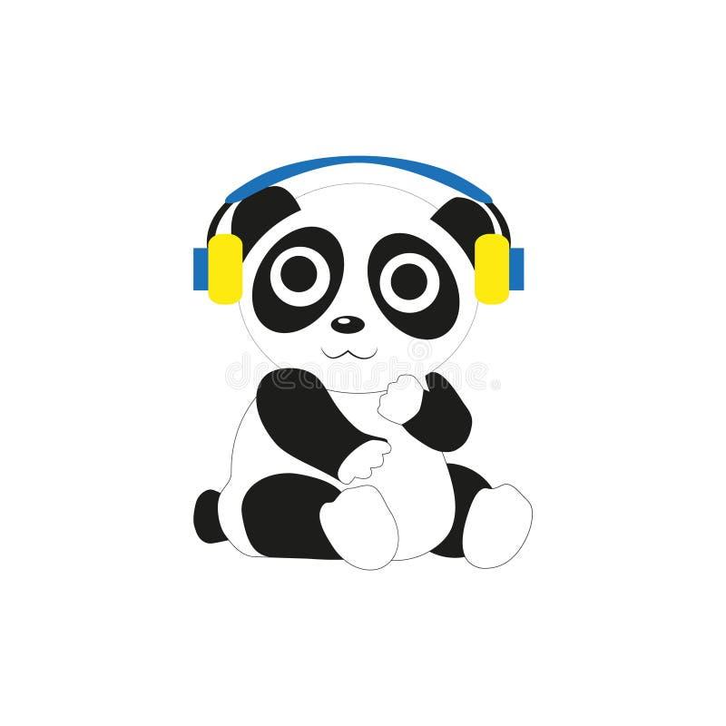 Panda com fones de ouvido ilustração royalty free