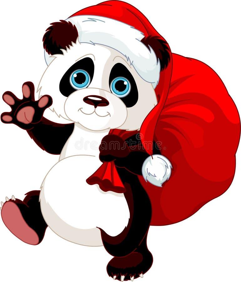 Panda com um saco completo dos presentes ilustração do vetor