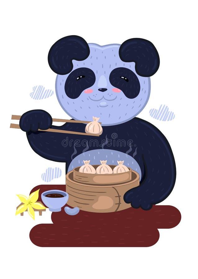Panda come bolinhos chineses Logotipo do restaurante Gráficos vetoriais ilustração royalty free