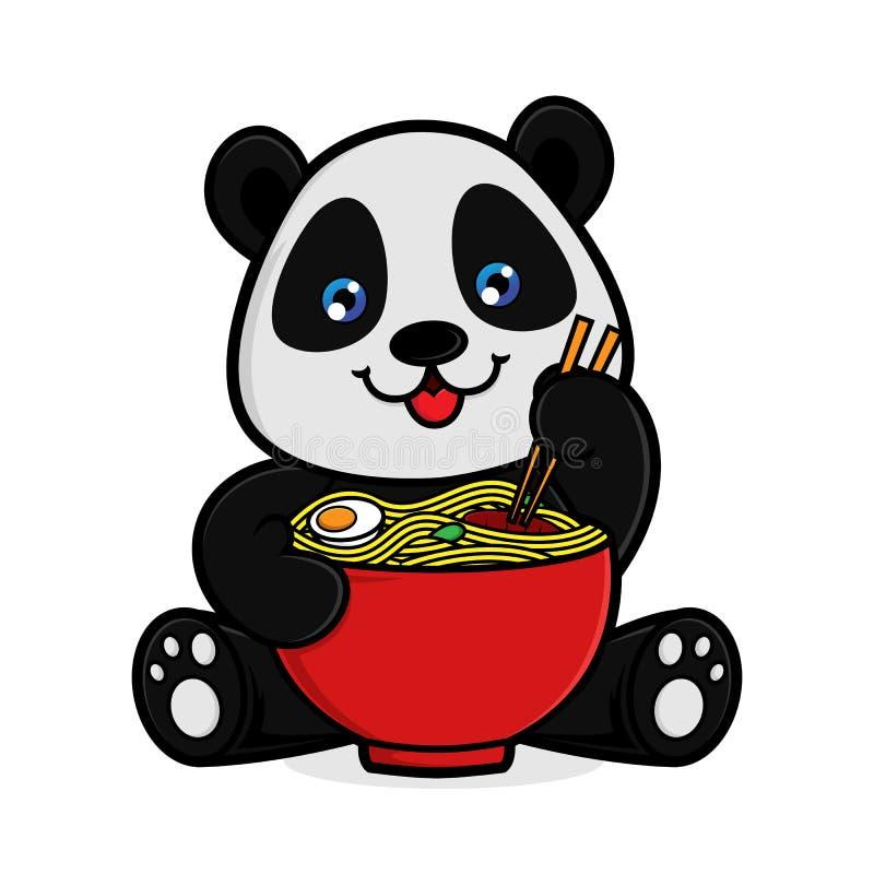 A panda come noodlles ilustração royalty free