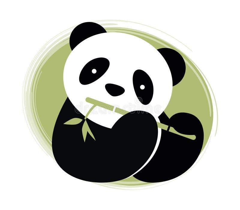 Panda con bambù. illustrazione di stock