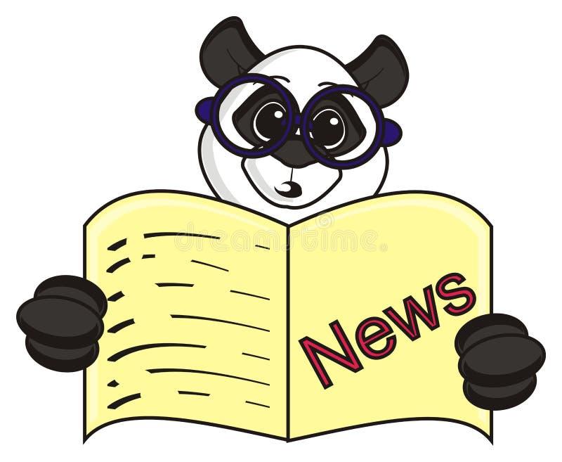 Panda con i vetri che legge un giornale illustrazione vettoriale