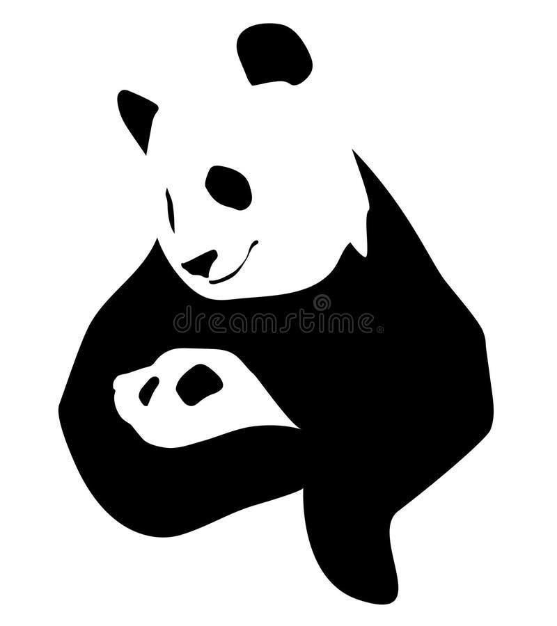 Panda con un pequeño bebé ilustración del vector