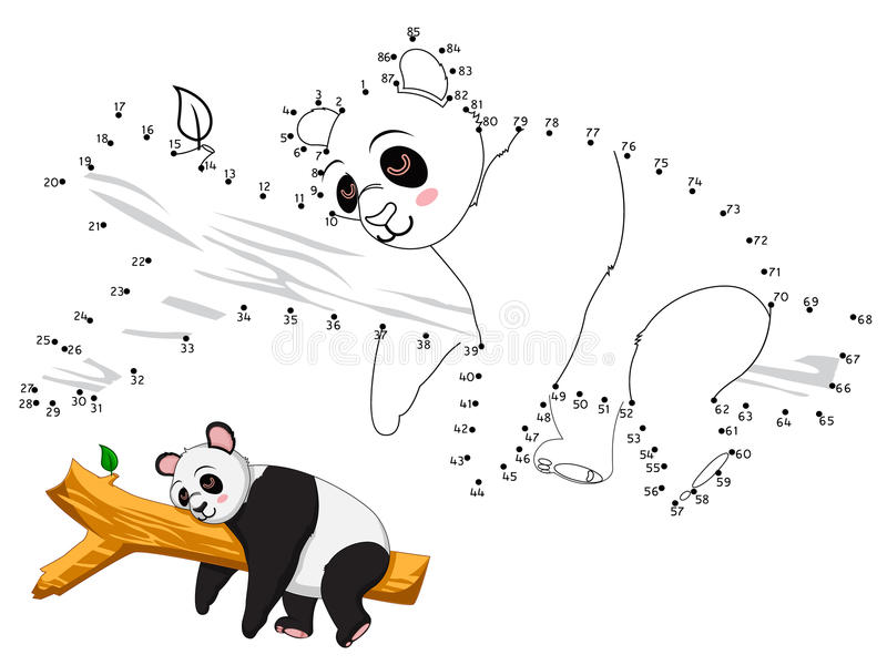 Panda Connect prickarna och färgen royaltyfri illustrationer