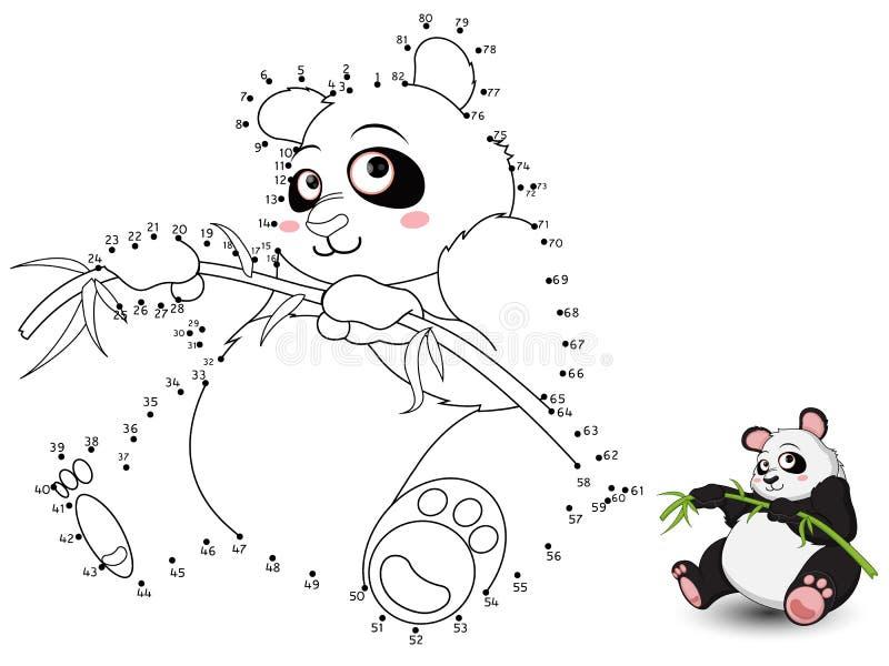 Panda Connect prickarna och färgen set3 vektor illustrationer