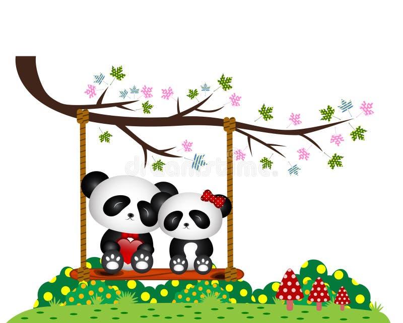 Panda Couple förälskat sammanträde på en gunga under ett träd på parkera royaltyfri illustrationer