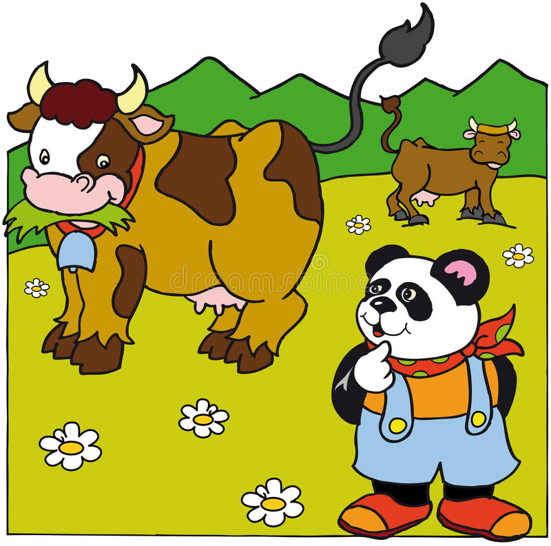 Panda with cows royalty free stock photo
