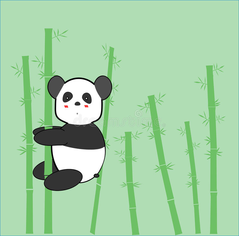 Panda Cute Cartoon stock illustrationer