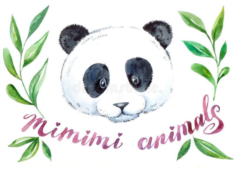 Panda cute watercolor illustration stock photos