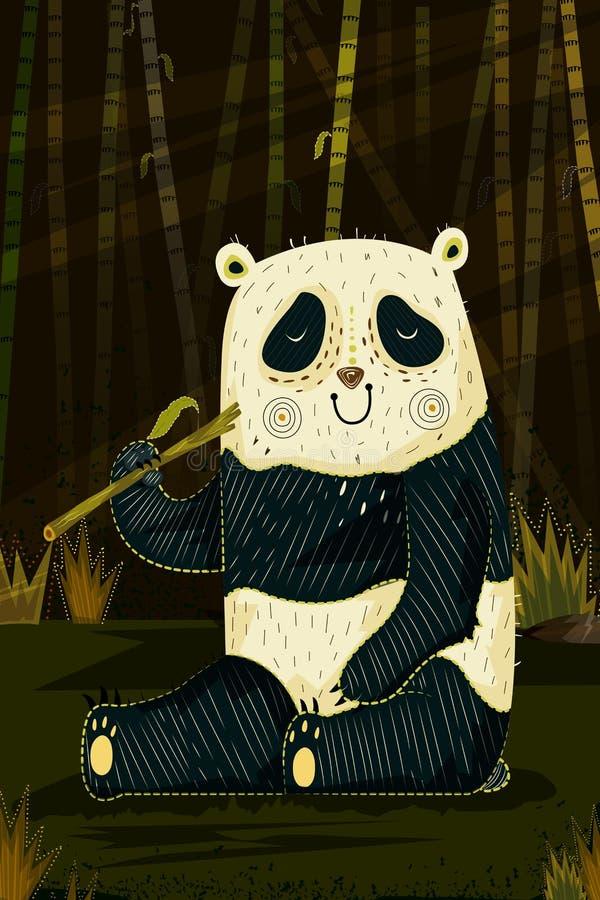 Panda d'animal sauvage à l'arrière-plan de forêt de jungle illustration de vecteur