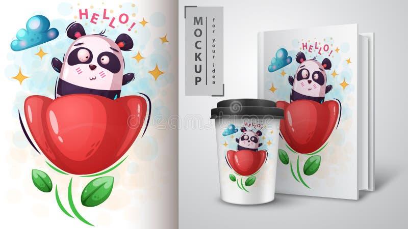 Panda da flor - modelo para sua ideia ilustração royalty free