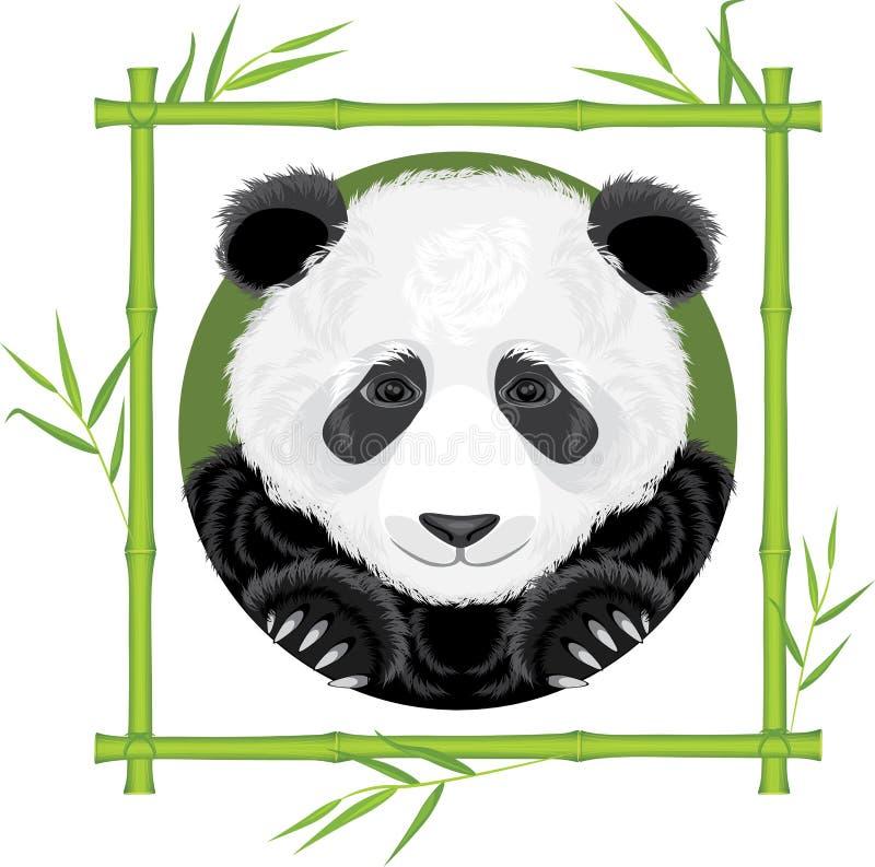 Panda dans le cadre en bambou illustration libre de droits