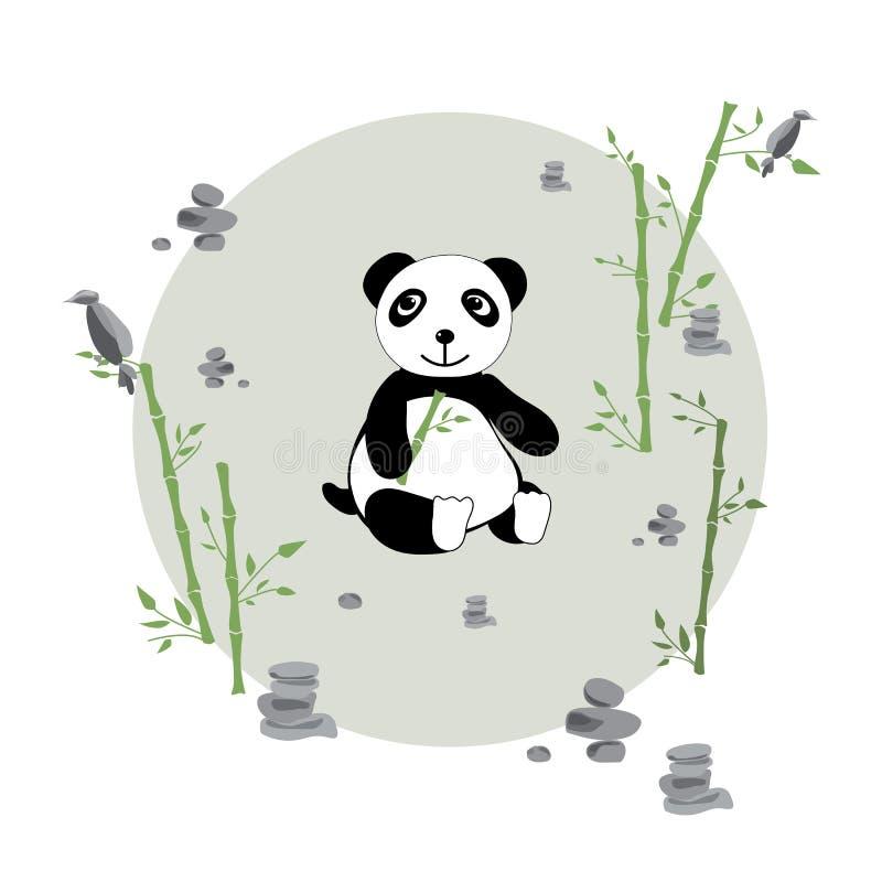 Panda dans le pré illustration de vecteur