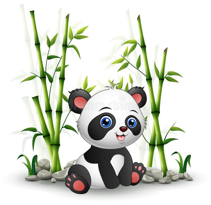 Panda de bébé se reposant parmi la tige en bambou illustration stock