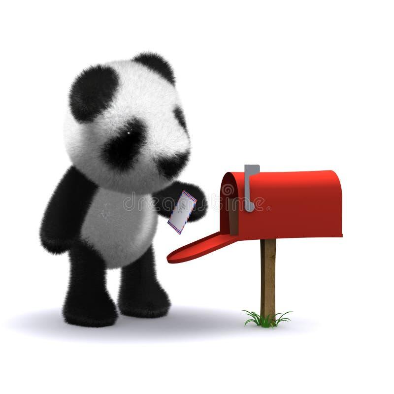 panda de boîte de lettre 3d illustration stock
