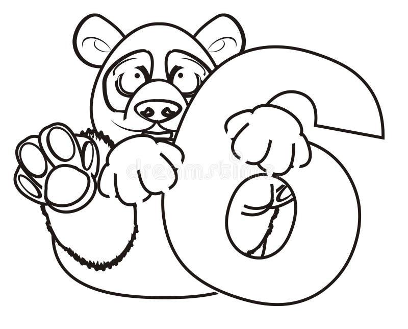 Download Panda De Coloration Avec Le Symbole Six Illustration Stock - Illustration du livre, fond: 77150936