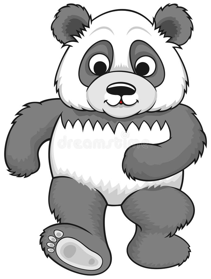 Panda de marche de bande dessinée illustration de vecteur