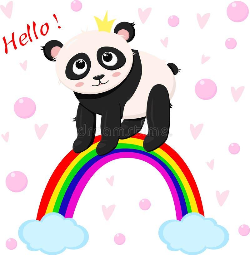 Panda de princesse sur l'arc-en-ciel - vecteur, illustration, ENV illustration libre de droits