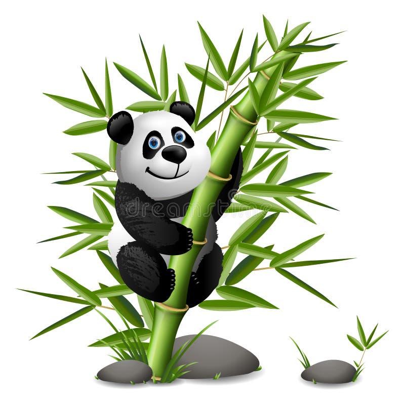 Panda de sorriso dos desenhos animados que pendura no bambu Ilustração do clipart do vetor ilustração stock