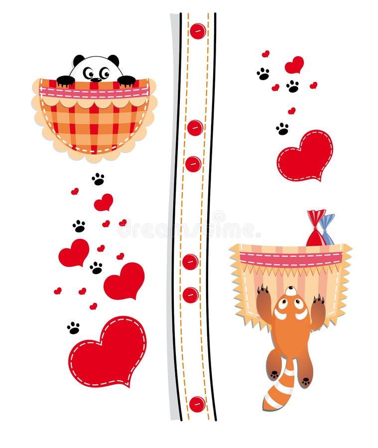 Panda in de zak stock illustratie