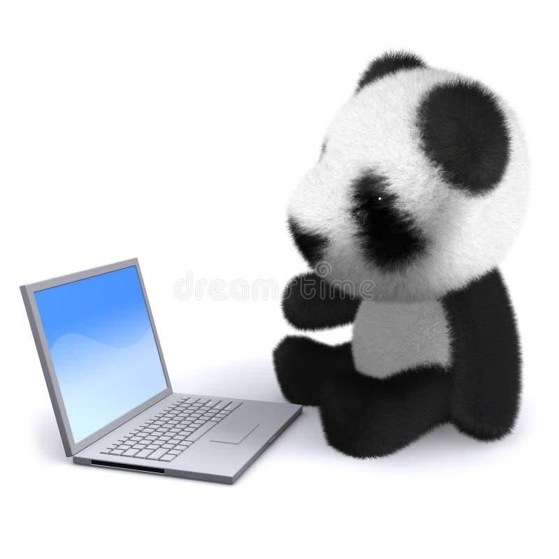 panda del bebé 3d con el ordenador portátil stock de ilustración