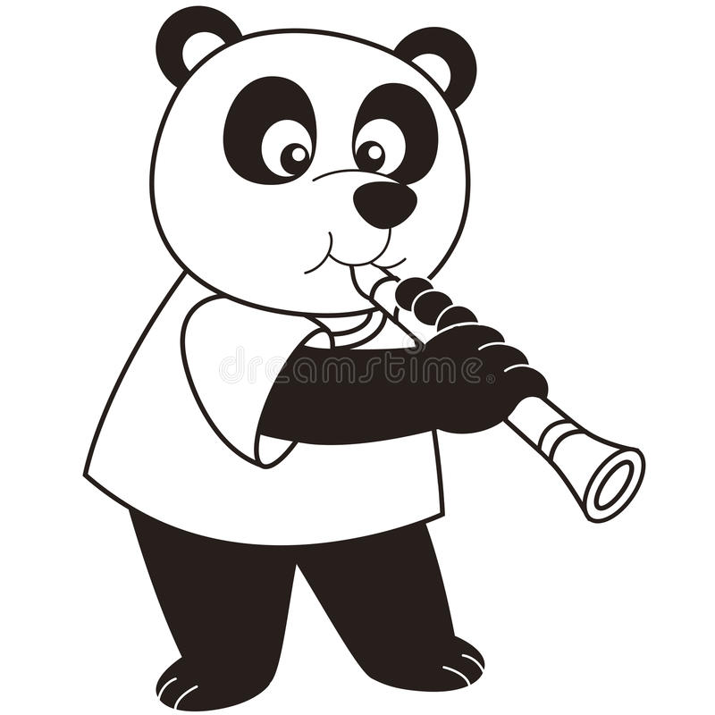 Panda del fumetto che gioca un clarinetto royalty illustrazione gratis