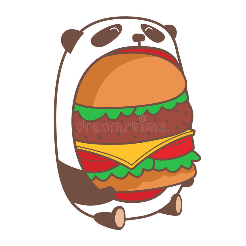 Panda, der enormen Burger isst lizenzfreie abbildung