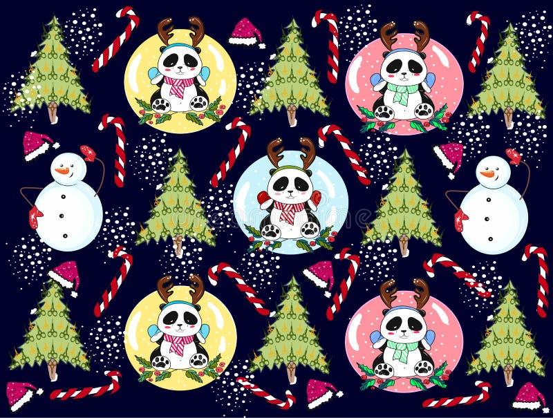 panda di Natale del modello con un pupazzo di neve illustrazione di stock