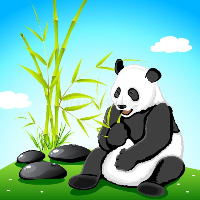 Panda die Bamboe eet vector illustratie