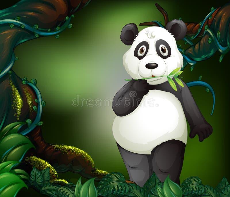 Panda die zich in diep bos bevinden stock illustratie