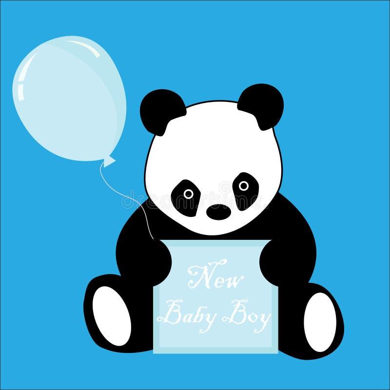 Panda do anúncio da chegada do bebé ilustração stock