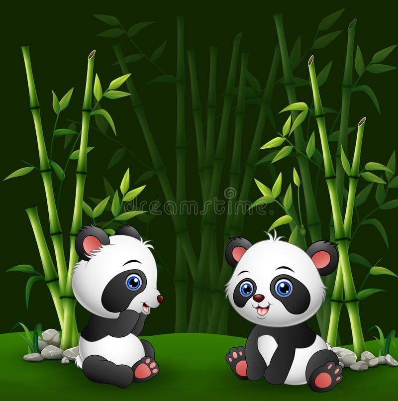 Panda do bebê dos desenhos animados no bambu da selva ilustração stock