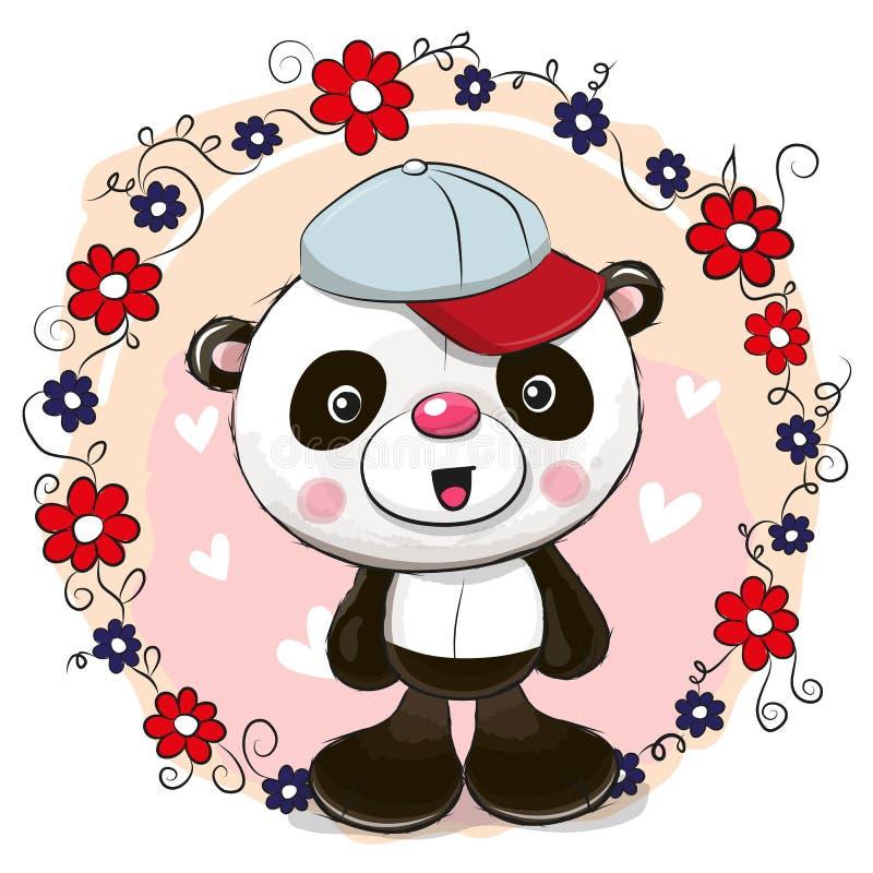 Panda do cartão com flores ilustração royalty free