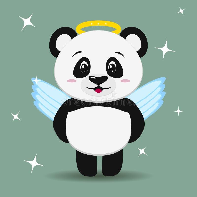 A panda doce no traje de um anjo, ao estilo de uns desenhos animados está ilustração stock