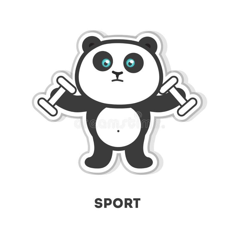 Panda does sport. Isolated cartoon sticker. Barbell vector illustration